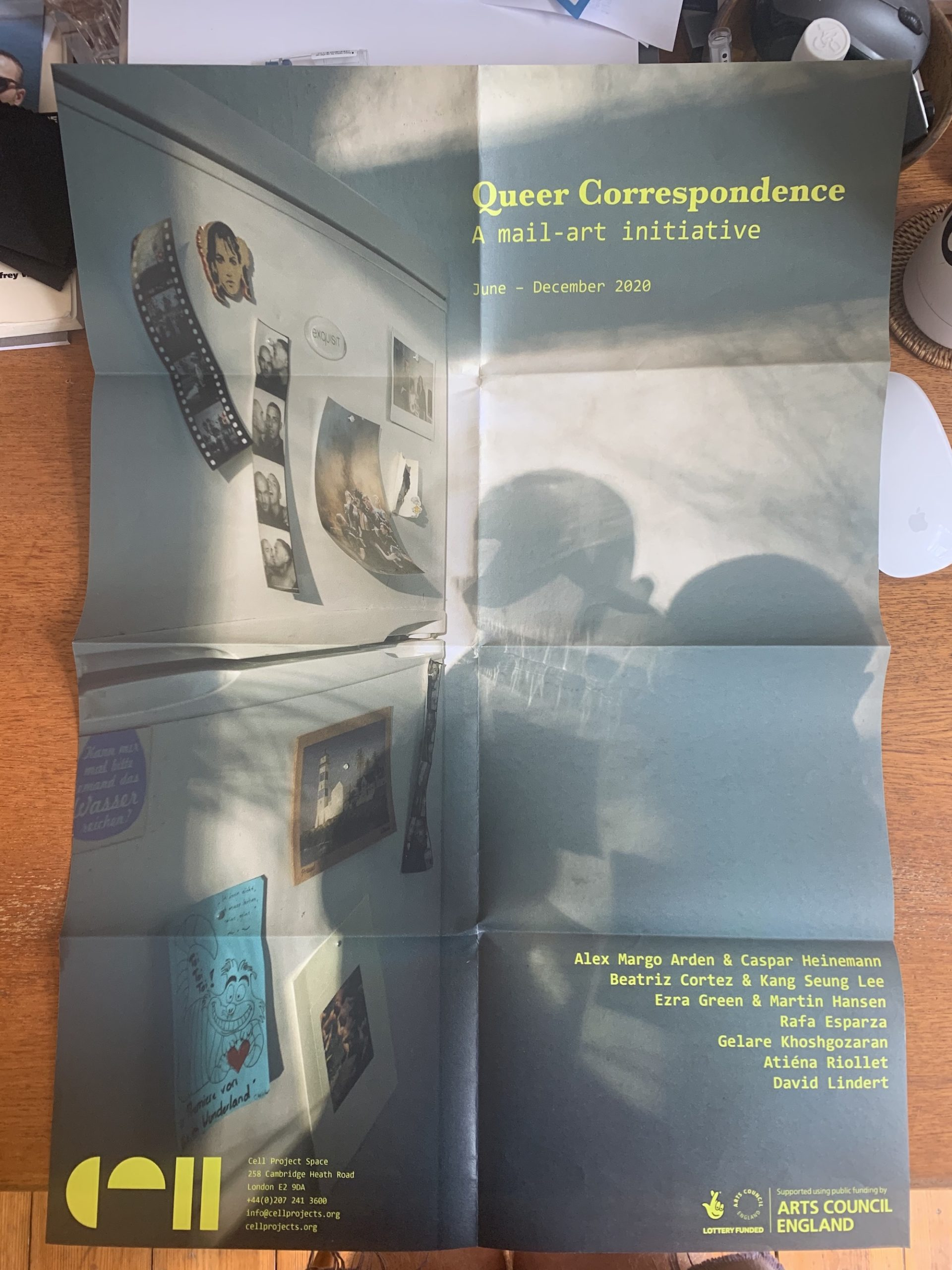 Queer Correspondence (poster), featuring Untitled (for Queer Correspondence), 2020, by David Lindert. Courtesy Cell Project Space