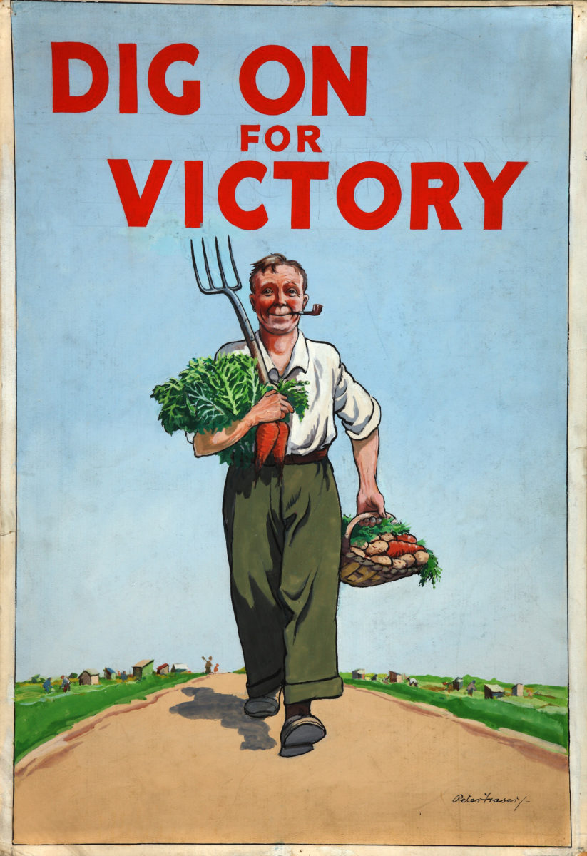 Dig on for Victory WW2, British Ministry of Agriculture poster designed about 1944 by Peter Fraser