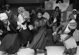 Black women dancing in a Wolverhampton youth club, 1978.