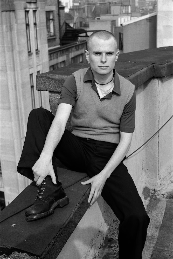 Cal on a roof in Soho in 1996 in London, England. © Marc Vallée