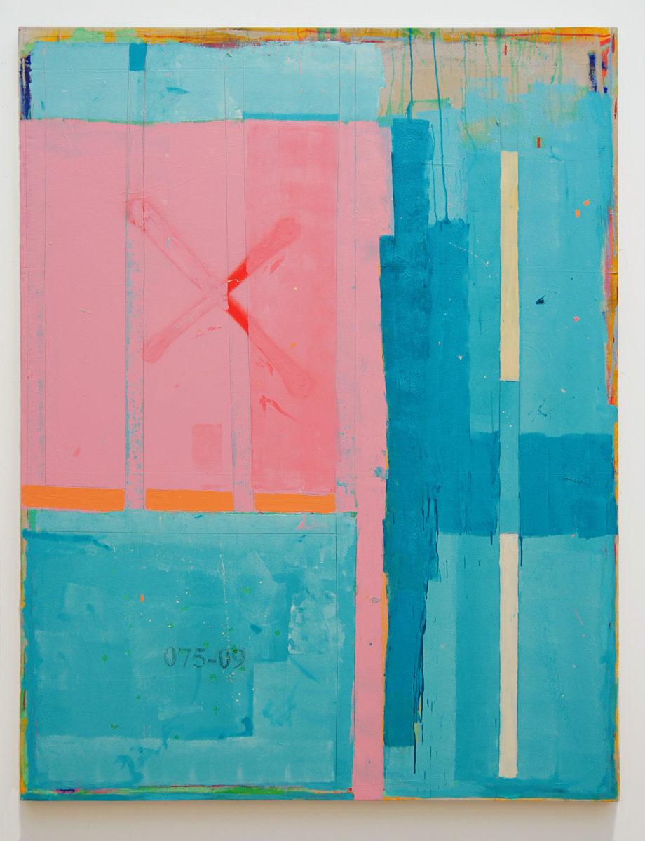 NN 075-09, 2019, Oil, spray paint and graphite pencil on canvas, 188cm x 145cm