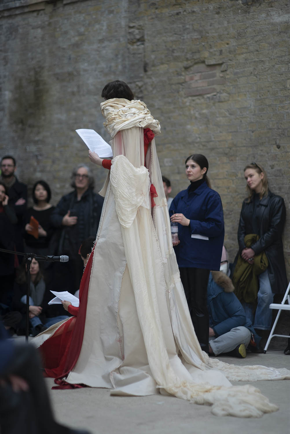How Deep Is Your Love (2019–20). Performance wearing sculptures (Scrofula II and Dress for a Blemmye). Performed at As If, Goldsmiths CCA, 2020. Courtesy Rosie Taylor