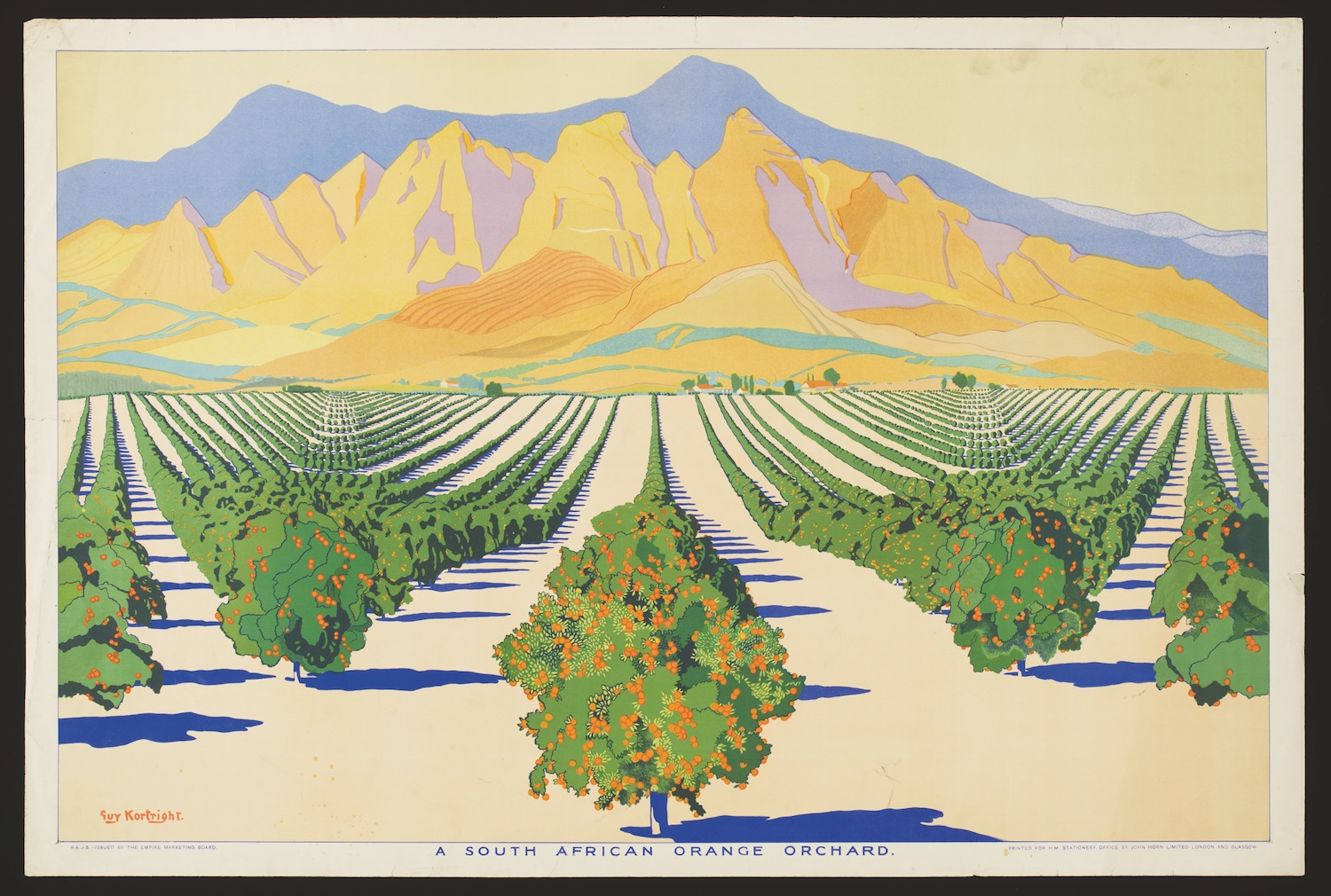 (Reginald) Guy Kortright (1877–1948) A South African Oranae Orchard from Summer's Oranaes from South Africa Issued by the Empire Marketing Board. Great Britain, 1928