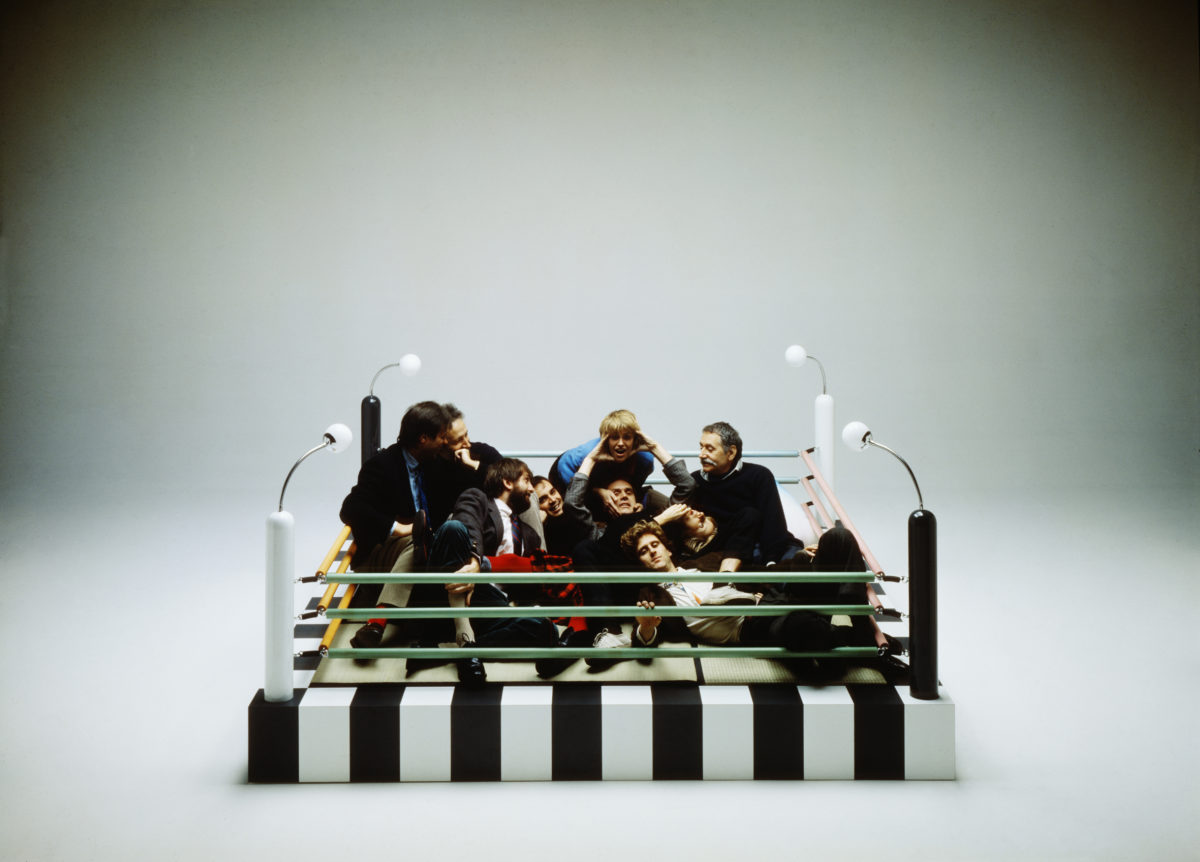 Memphis designers with Masanori Umeda's Tawaraya Bed, 1981. Courtesy Memphis Post Design Gallery. Photo © Studio Azzurro