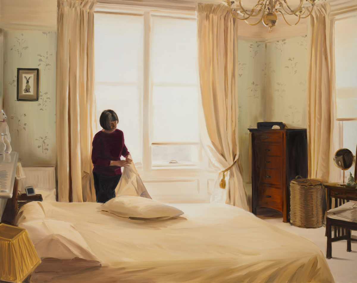 Caroline Walker, Changing Pillowcases, Mid Morning, March, 2020. Photograph: Peter Mallet. Courtesy of the Artist and Grimm, Amsterdam | New York