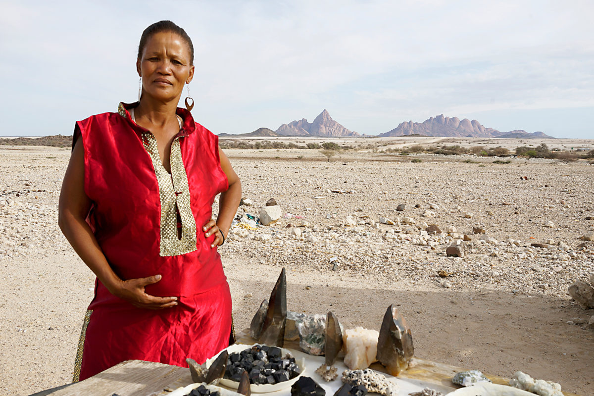 Margaret Courtney-Clarke, Dorothea Papier on her birthday, Spitzkoppe, Namibia, 2016