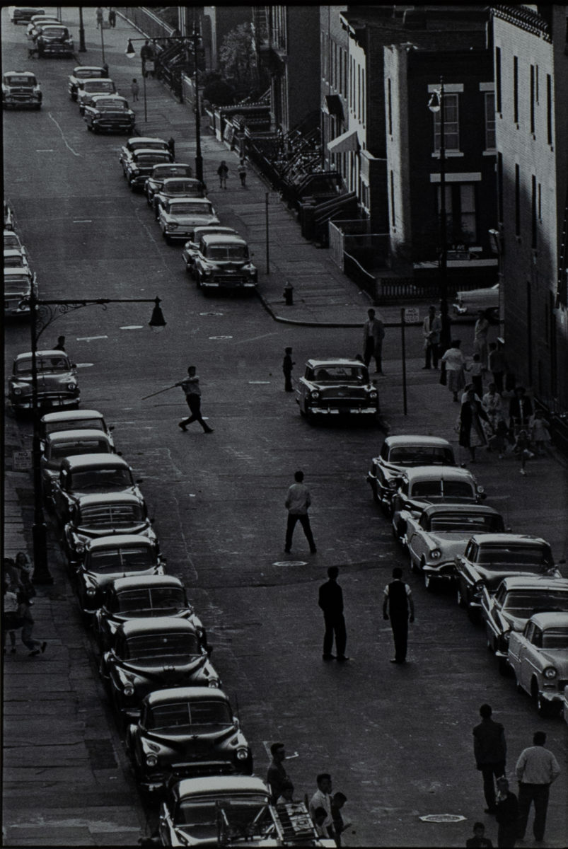 Stickball, from Brooklyn Gang, 1959. Courtesy Queens Museum © Bruce Davidson/Magnum Photos.