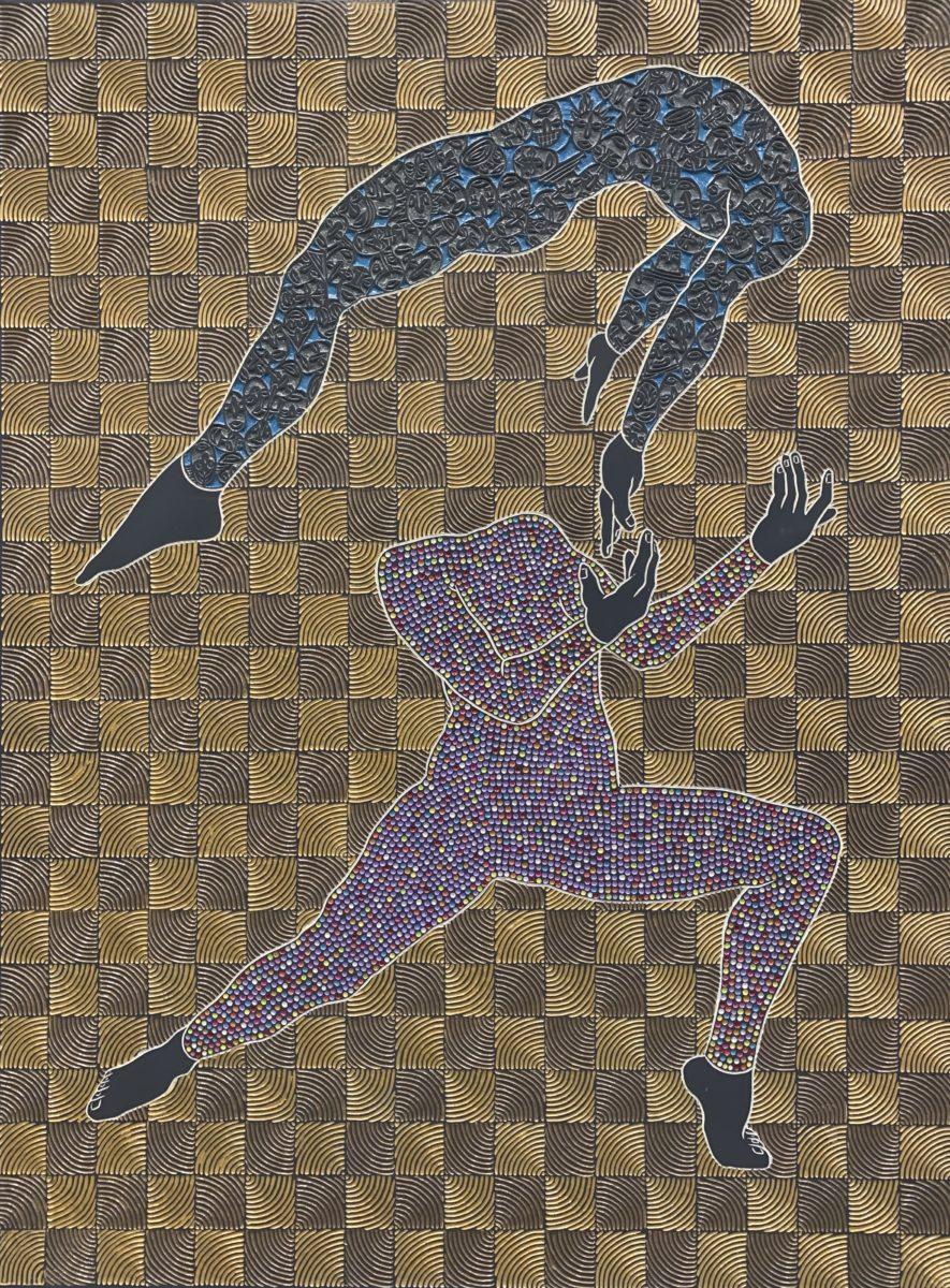Sthenjwa Luthuli, Saved Soul, 2020, Hand carved wood & paint, 198 x 149 cm