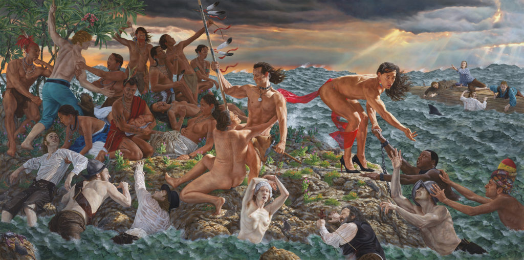 Kent Monkman (Cree, b. 1965). Welcoming the Newcomers, 2019. Image courtesy of the artist