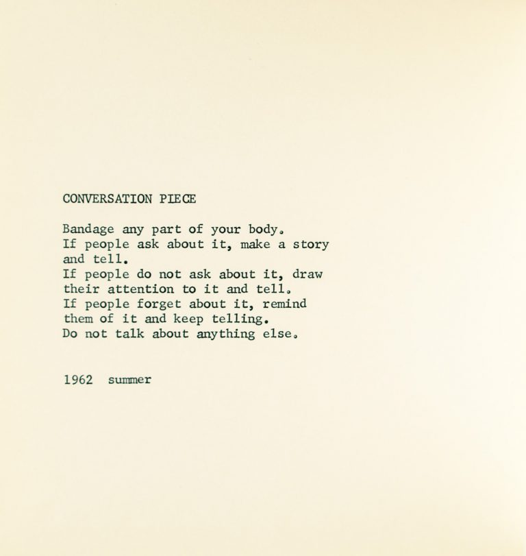 Conversation Piece, an event score from Grapefruit. Limited first edition, 1964