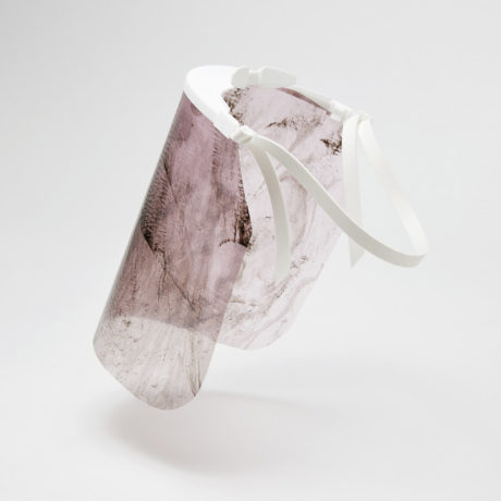 Alice Potts, Purple Iris & Walnut Husk, 2020, from the Dance Biodegradable Personal Protective Equipment (DBPPE) post COVID facemasks series, 2020. Commissioned by the National Gallery of Victoria, Melbourne. Image courtesy the artist.
