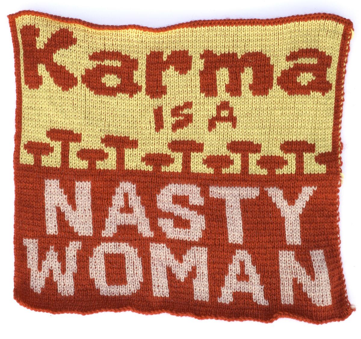 Lisa Anne Auerbach, Karma is a Nasty Woman, 2020. Courtesy of the artist and GAVLAK Los Angeles / Palm Beach.