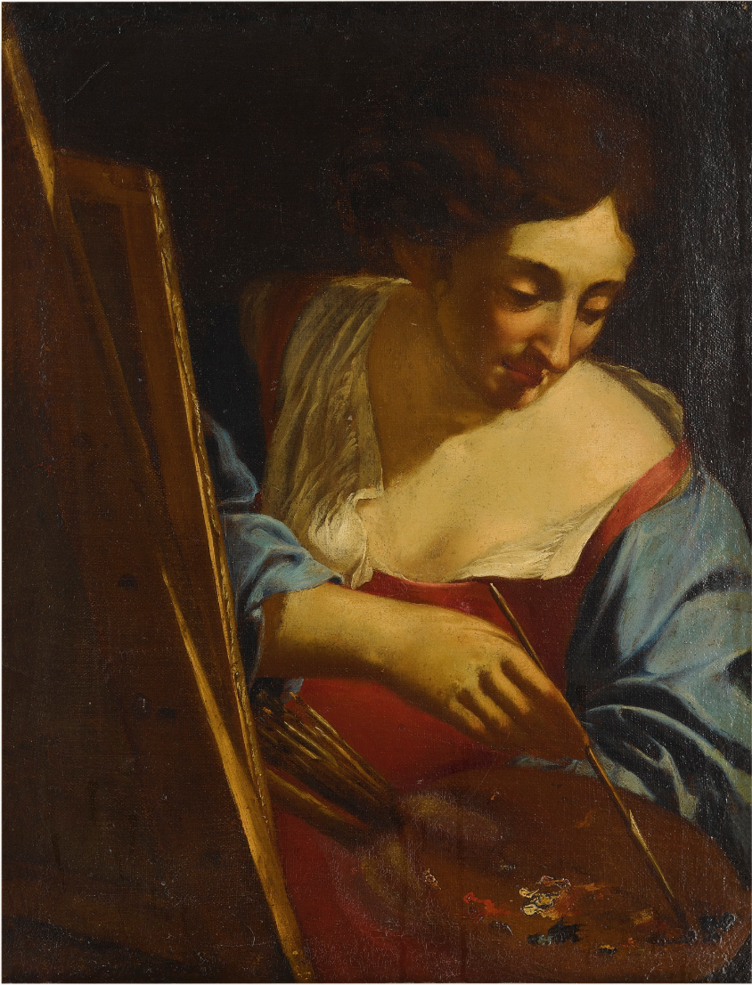 """Self-Portrait, """"Woman Artist Painting."""" Mid 17th Century. Anonymous artist from the Emilian School. Courtesy of the artist and GAVLAK Los Angeles / Palm Beach"""