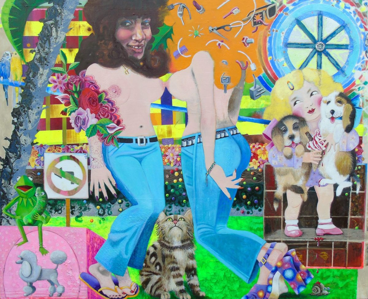 Belters oil,acrylic,glitter,fake jewels and buttons on canvas 150x120cms 2020 R Faram