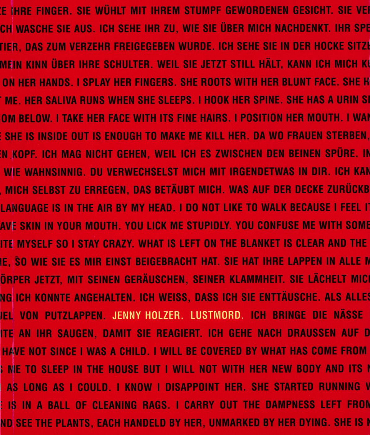 Jenny Holzer, Lustmord book cover, published by Hatje Cantz, 1997