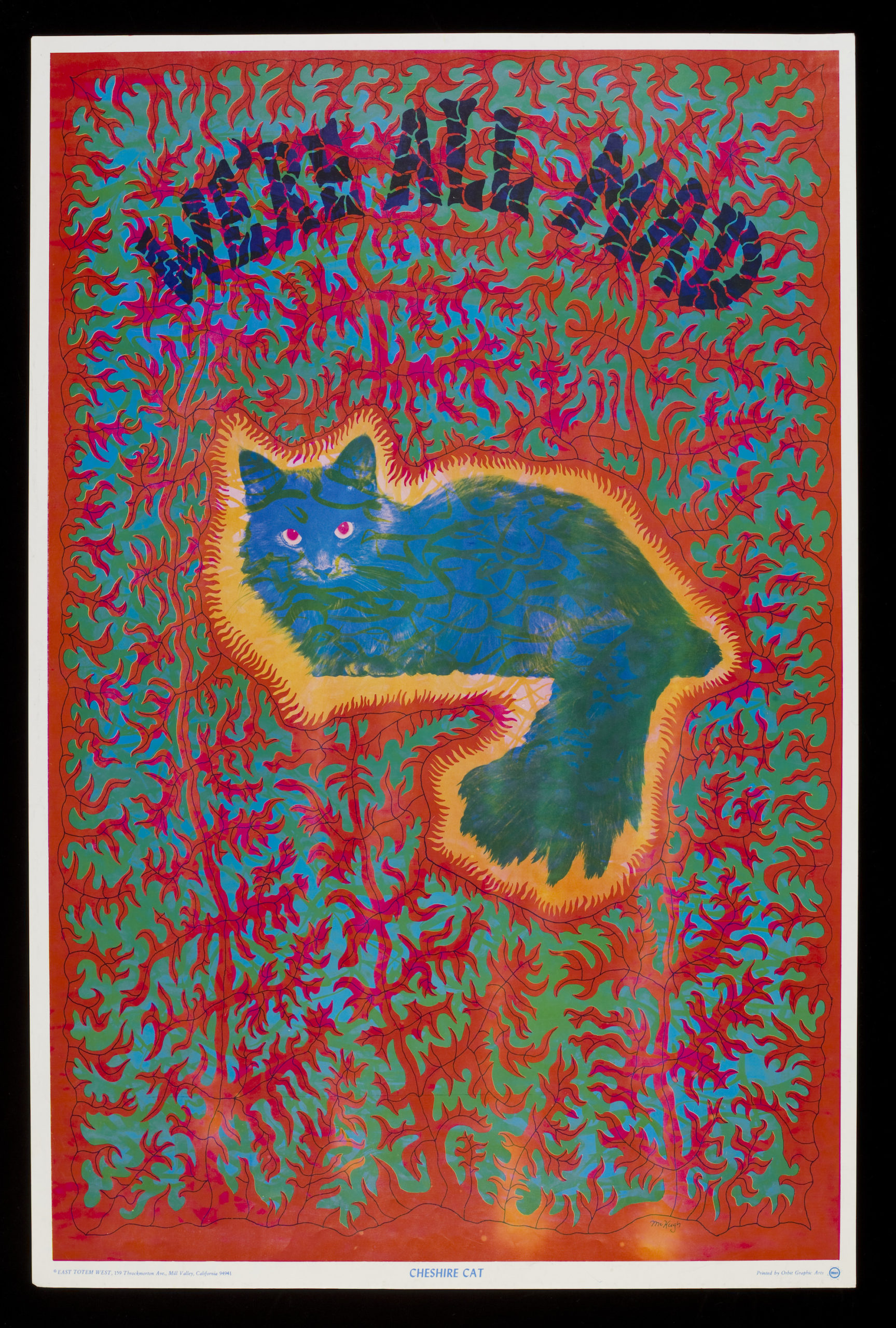 Cheshire cat, psychedelic poster by Joseph McHugh, published by East Totem West. USA, 1967