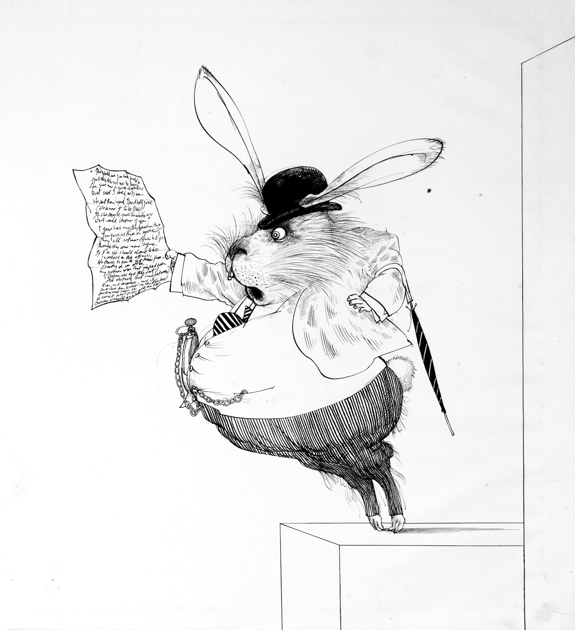 Original drawing for Alice in Wonderland of the White Rabbit, 1967 (c) Ralph Steadman Art Collection, 2019. All rights reserved.