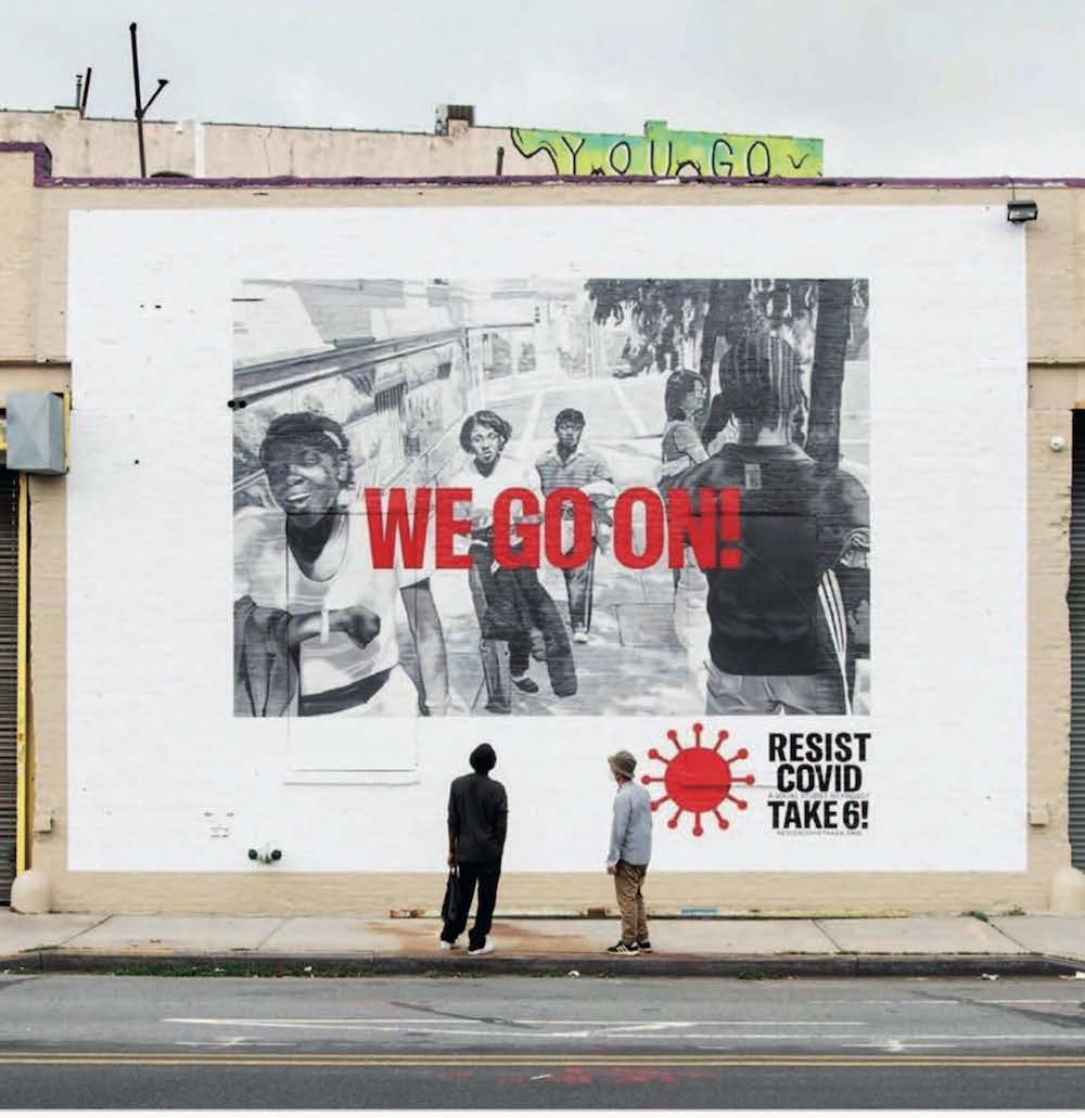 Carrie Mae Weems, x For Freedoms, We Go On , Brooklyn, NY, from RESIST COVID TAKE 6, 2020. Mural by Tom Hemmerick. Photograph by Jasmine Clarke