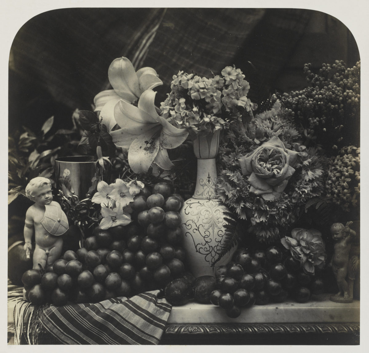 Roger Fenton, Still Life with Vase, Flowers and Fruit, 1853–60, albumen print © The Royal Photographic Society Collection at the Victoria & Albert Museum, acquired with the generous assistance of the National Lottery Heritage Fund and Art Fund