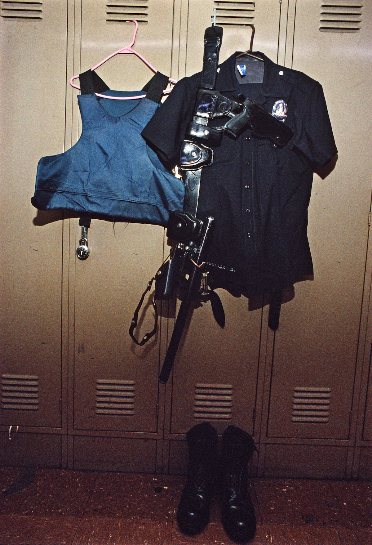 Parts of Rampart Division uniform. © Joseph Rodriguez, from LAPD 1994