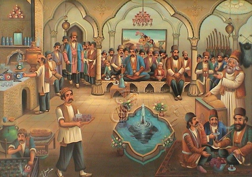 Hassan Ismaille Zadeh, painting of a coffeehouse, date unknown