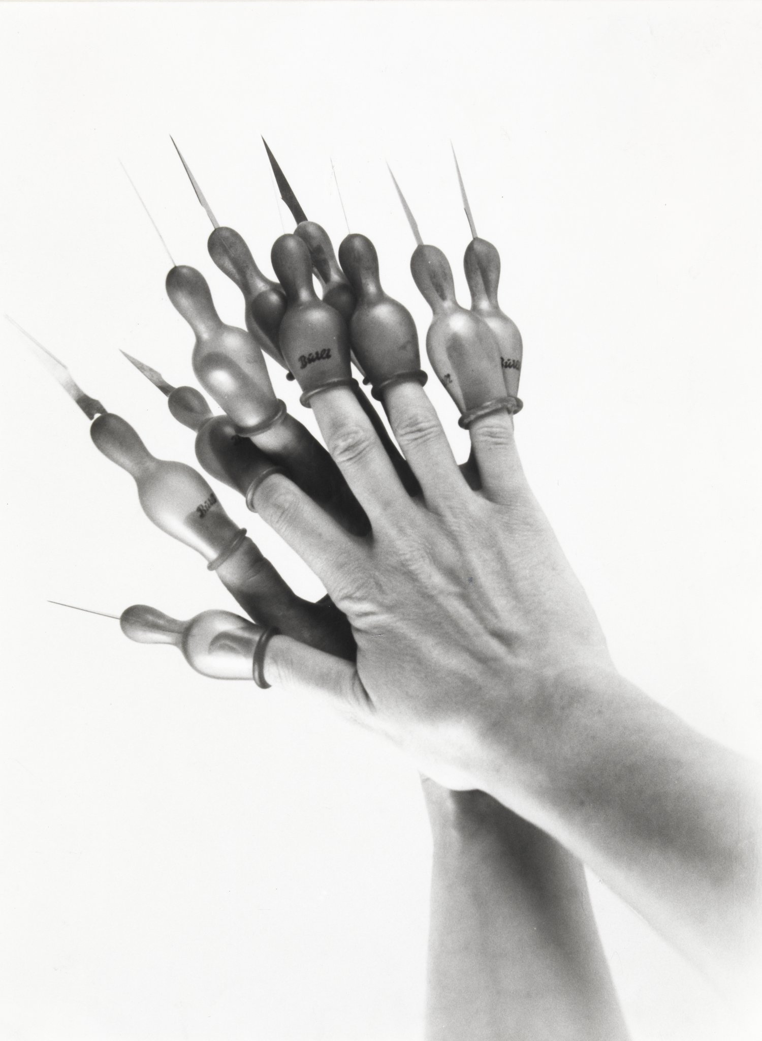 Renate Bertlmann, Messerschnullerhände - Ambivalenzen (Knife Dummy Hands - Ambivalence), 1981. Courtesy of the artist and Richard Saltoun Gallery