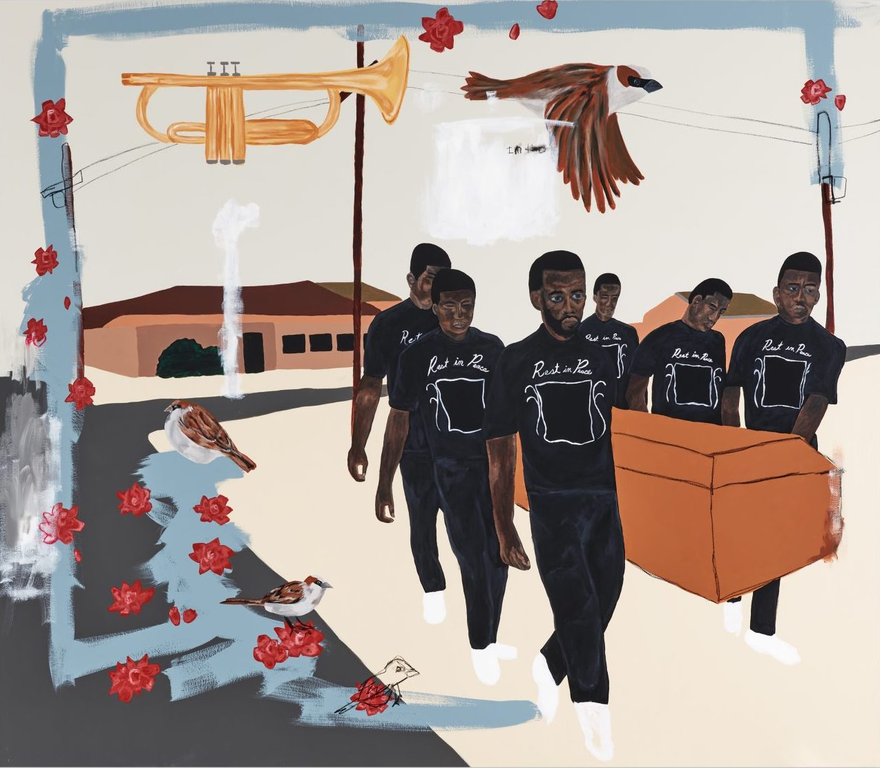Jammie Holmes, Carrying Caskets #1, 2021. © Jammie Holmes. Courtesy the artist and Library Street Collective
