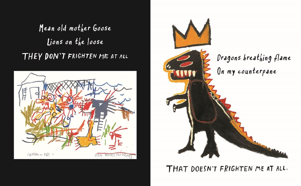 Spread from the 25th Anniversary Edition of Maya Angelou and Jean-Michel Basquiat's Life Doesn't Frighten Me, published by Abrams Books