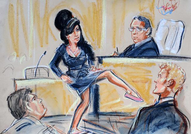 Priscilla Coleman, Amy Winehouse in court, 2013. Courtesy of Priscilla Coleman