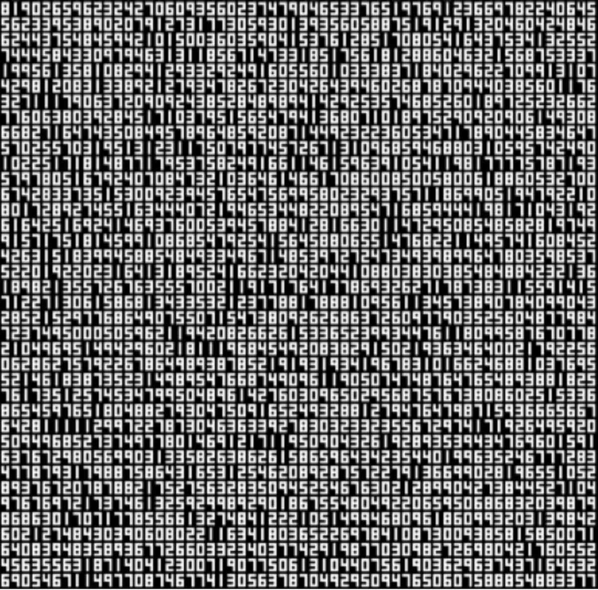 Ryoji Ikeda, A Single Number That Has 10,000,086 Digits, 2021
