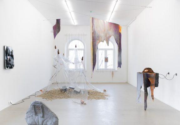 Exhibition 'Diluvial Valleys' at Swallow, curated by Vaida Stepanovaitė, 2021 Photographer: Laurynas Skeisgiela