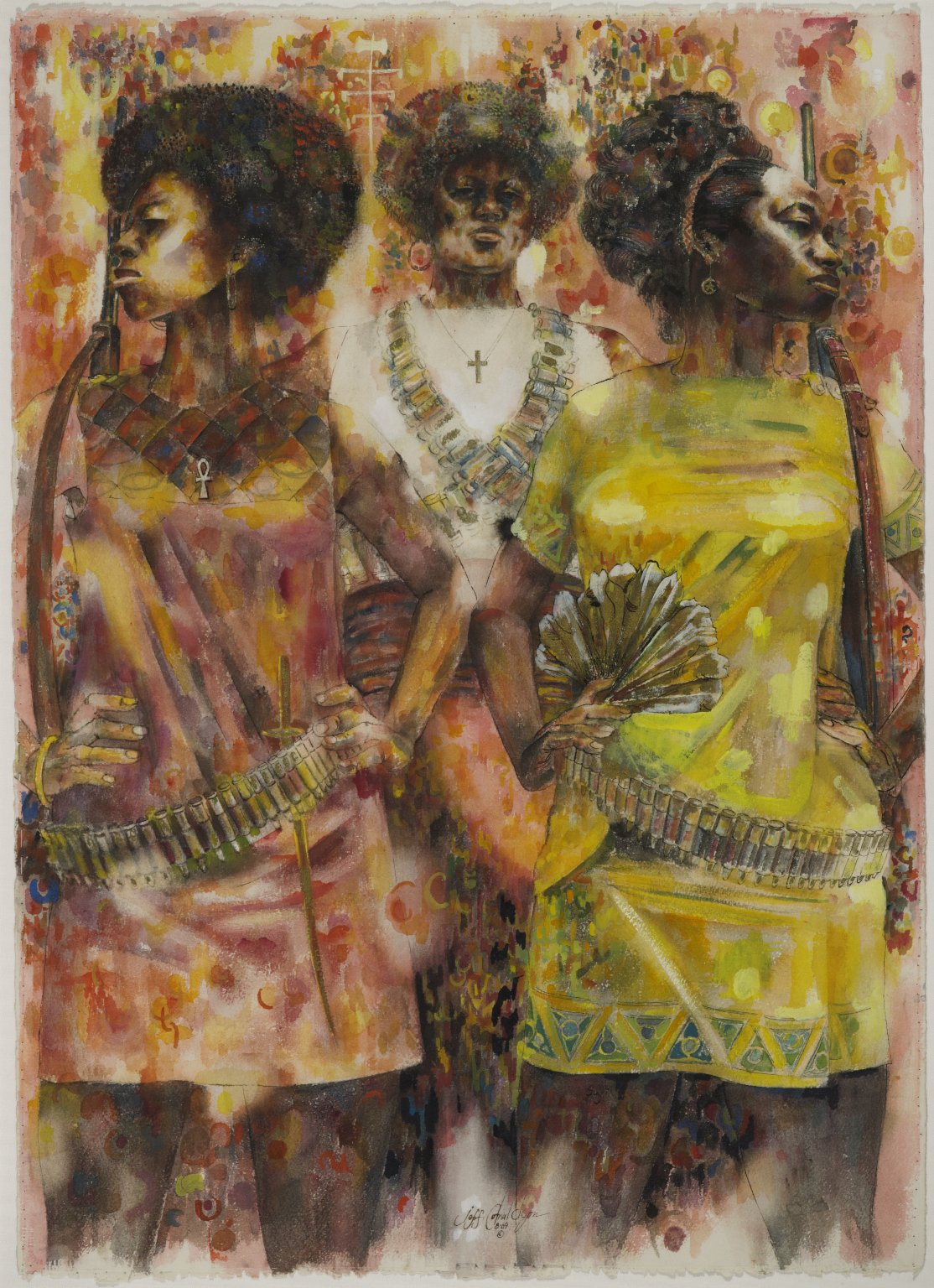 Jeff Donaldson, Wives of Shango, 1969. Brooklyn Museum, Gift of R.M. Atwater, Anna Wolfrom Dove, Alice Fiebiger, Joseph Fiebiger, Belle Campbell Harriss, and Emma L. Hyde, by exchange, Designated Purchase Fund, Mary Smith Dorward Fund, Dick S. Ramsay Fund, and Carll H. de Silver Fund © the artist. Photo: Brooklyn Museum