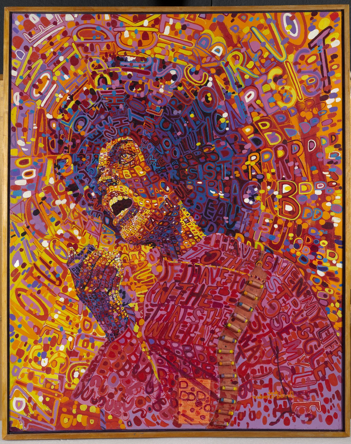 Wadsworth A. Jarrell, Revolutionary (Angela Davis), 1971. Brooklyn Museum, Gift of R.M. Atwater, Anna Wolfrom Dove, Alice Fiebiger, Joseph Fiebiger, Belle Campbell Harriss, and Emma L. Hyde, by exchange, Designated Purchase Fund, Mary Smith Dorward Fund, Dick S. Ramsay Fund, and Carll H. de Silver Fund © the artist. Photo: Brooklyn Museum