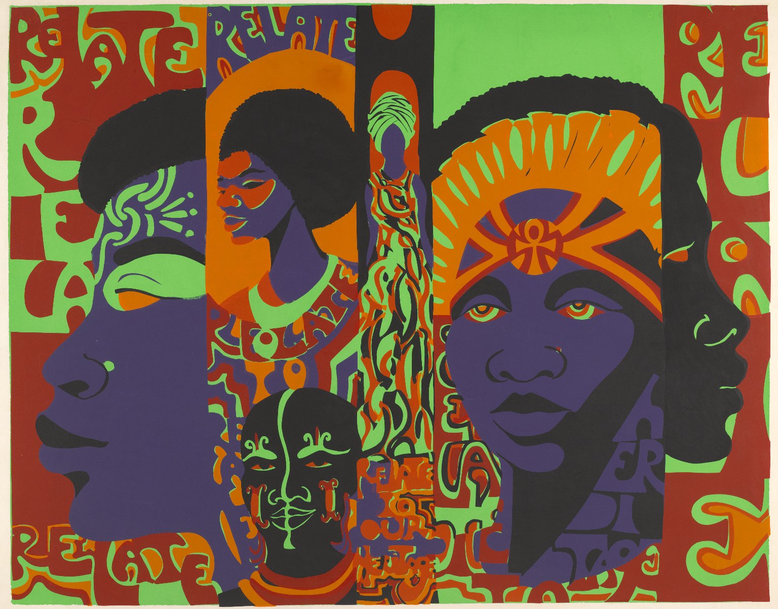 Barbara Jones-Hogu, Relate to Your Heritage, 1971. Brooklyn Museum, Gift of R.M. Atwater, Anna Wolfrom Dove, Alice Fiebiger, Joseph Fiebiger, Belle Campbell Harriss, and Emma L. Hyde, by exchange, Designated Purchase Fund, Mary Smith Dorward Fund, Dick S. Ramsay Fund, and Carll H. de Silver Fund © the artist. Photo: Brooklyn Museum