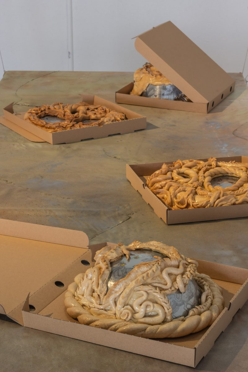 Anastasia Sosunova, Another Dinner Ruined, 2021. Courtesy the artist. Installation view at Baltic Triennial 14: