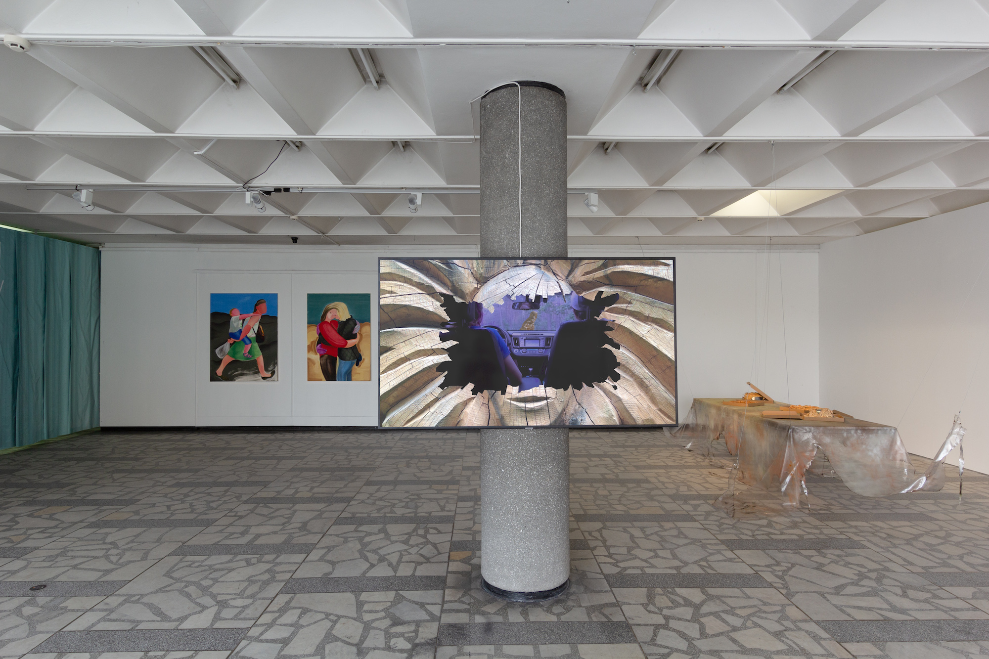 """Anastasia Sosunova, Agents, 2020. Courtesy the artist. Video commissioned for """"Roots to Routes,"""" 2020, curated by Juste Kostikovaite, Maija Rudovska and Merilin Talumaa, with the support of the Baltic Culture Fund. Installation view at Baltic Triennial 14: """"The Endless Frontier"""" curated by Valentinas Klimašauskas and João Laia, Contemporary Art Center in Vilnius, 2021. Photographer: Ugnius Gelguda"""