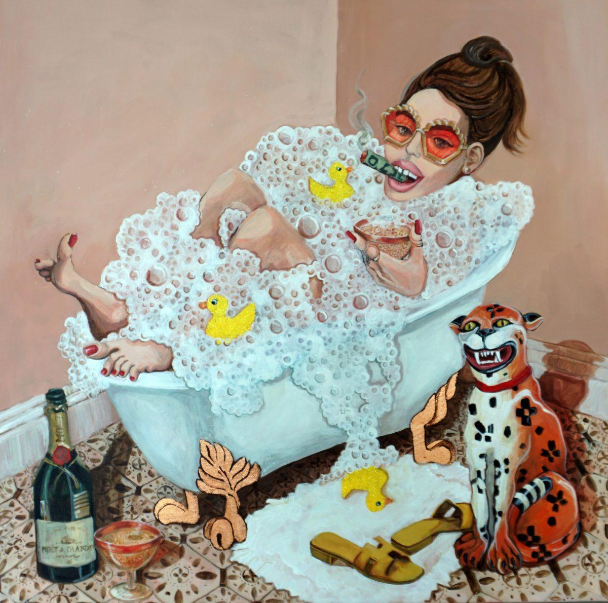 Anna Pogduz, Me in a Hot Bubble Bath, 2021