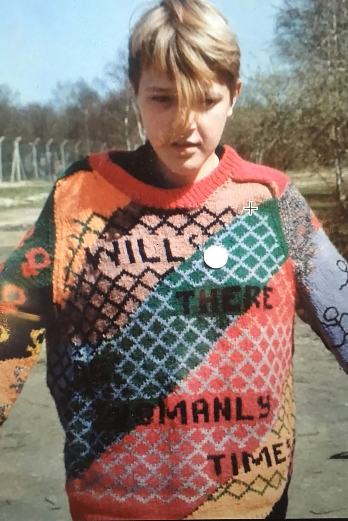 Knitwear made and designed by Juley Howard for Anne Gilholy, worn by her daughter Dina Gilholy at Greenham Common (c.1987). Courtesy Juley Howard