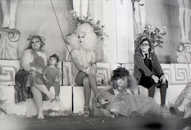 Clay Geerdes, Cockettes in HOT GREEKS, 1971. Courtesy of David Miller, from the estate of Clay Geerdes. Displayed in Queer California: Untold Stories at Oakland Museum of California, 2019