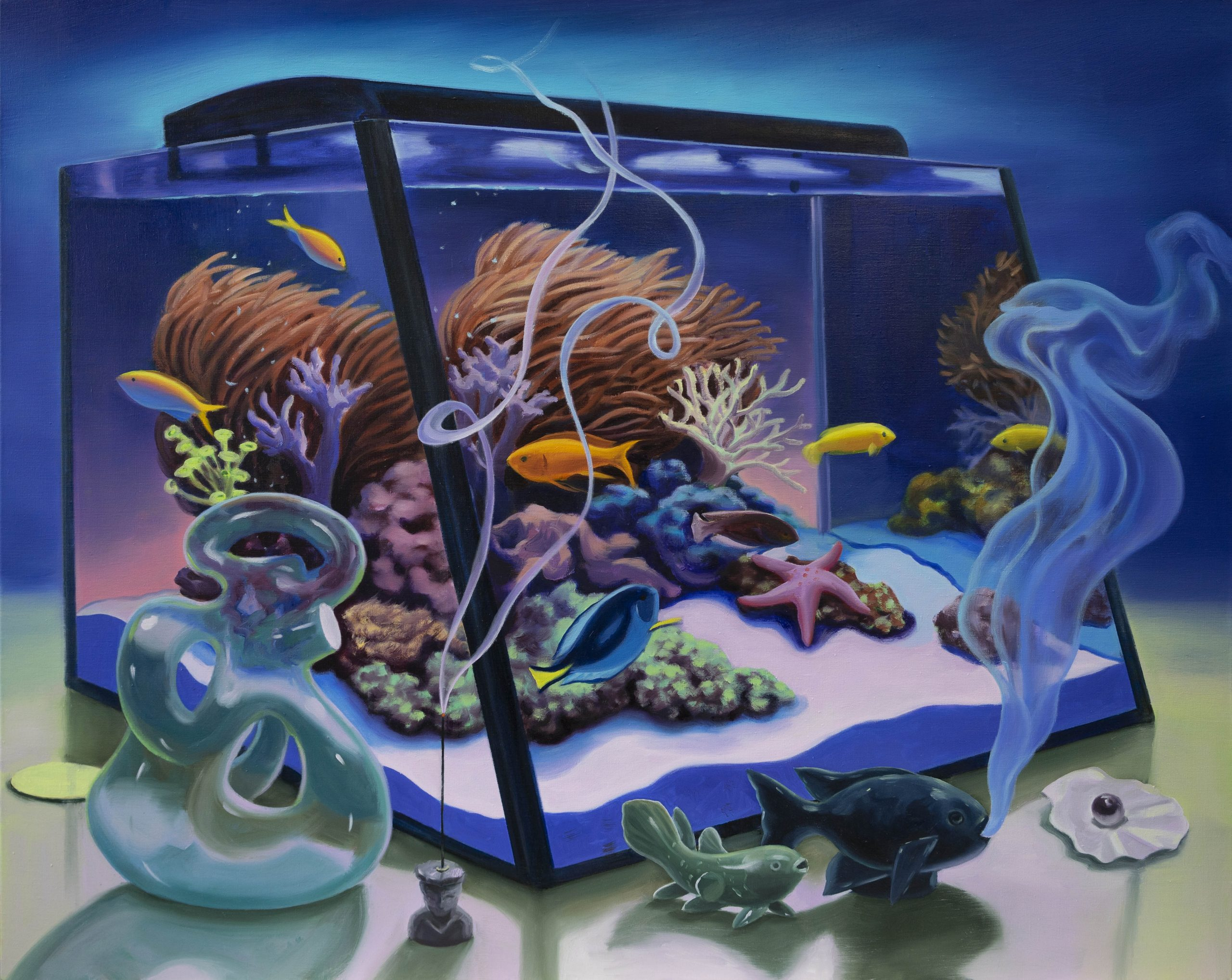 Still Life with Fish Tank (Smoke and Sand), 2020-2021