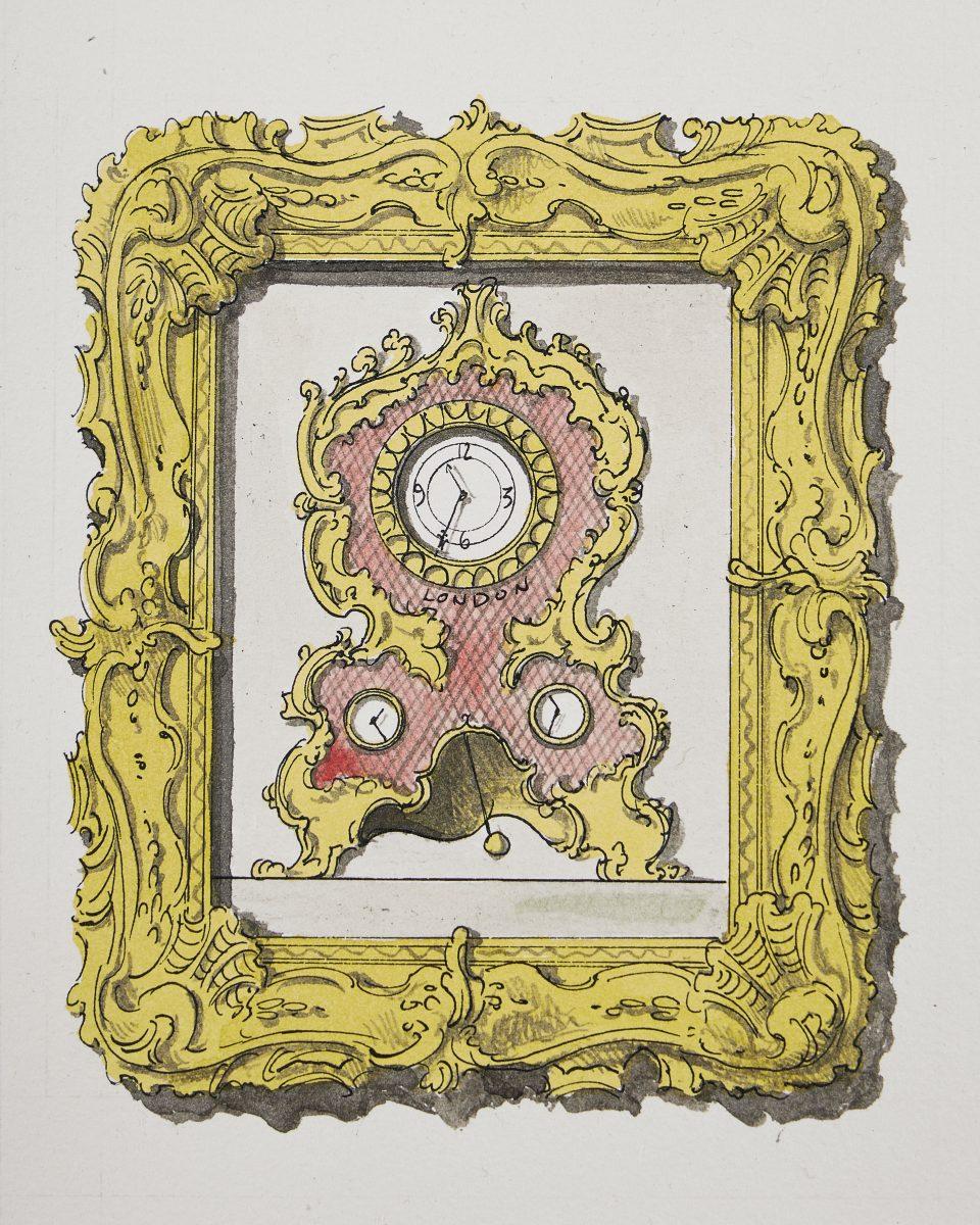 Pablo Bronstein, Rococo Clock, 2020. © Pablo Bronstein