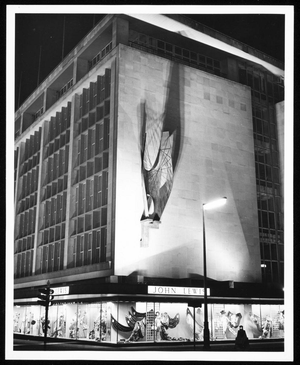 Winged Figure in situ at night, 1963