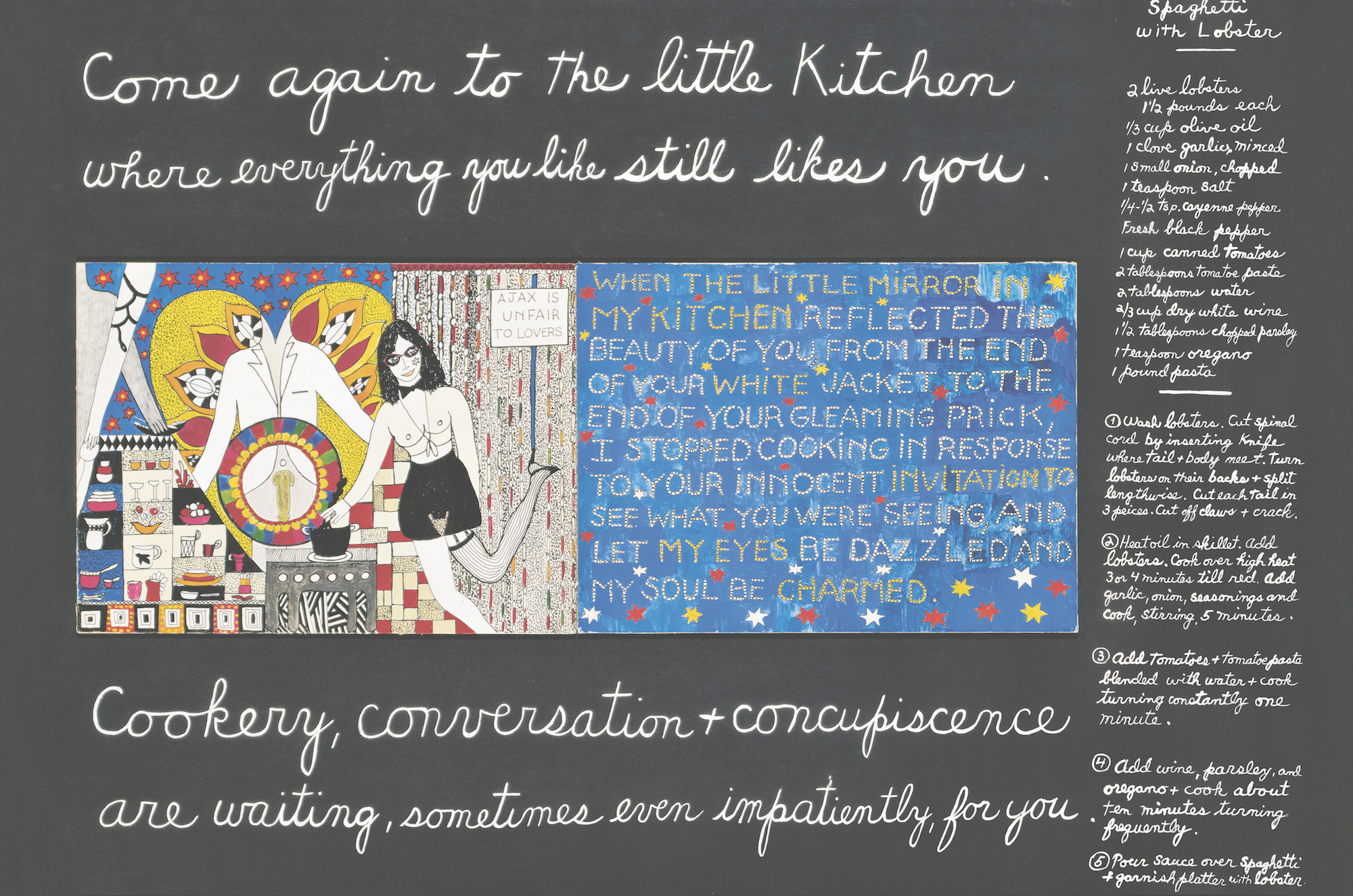Dorothy Iannone, Cookery, Conversation & Concupiscence, 1983. Courtesy the artist, Air de Paris and Peres Projects