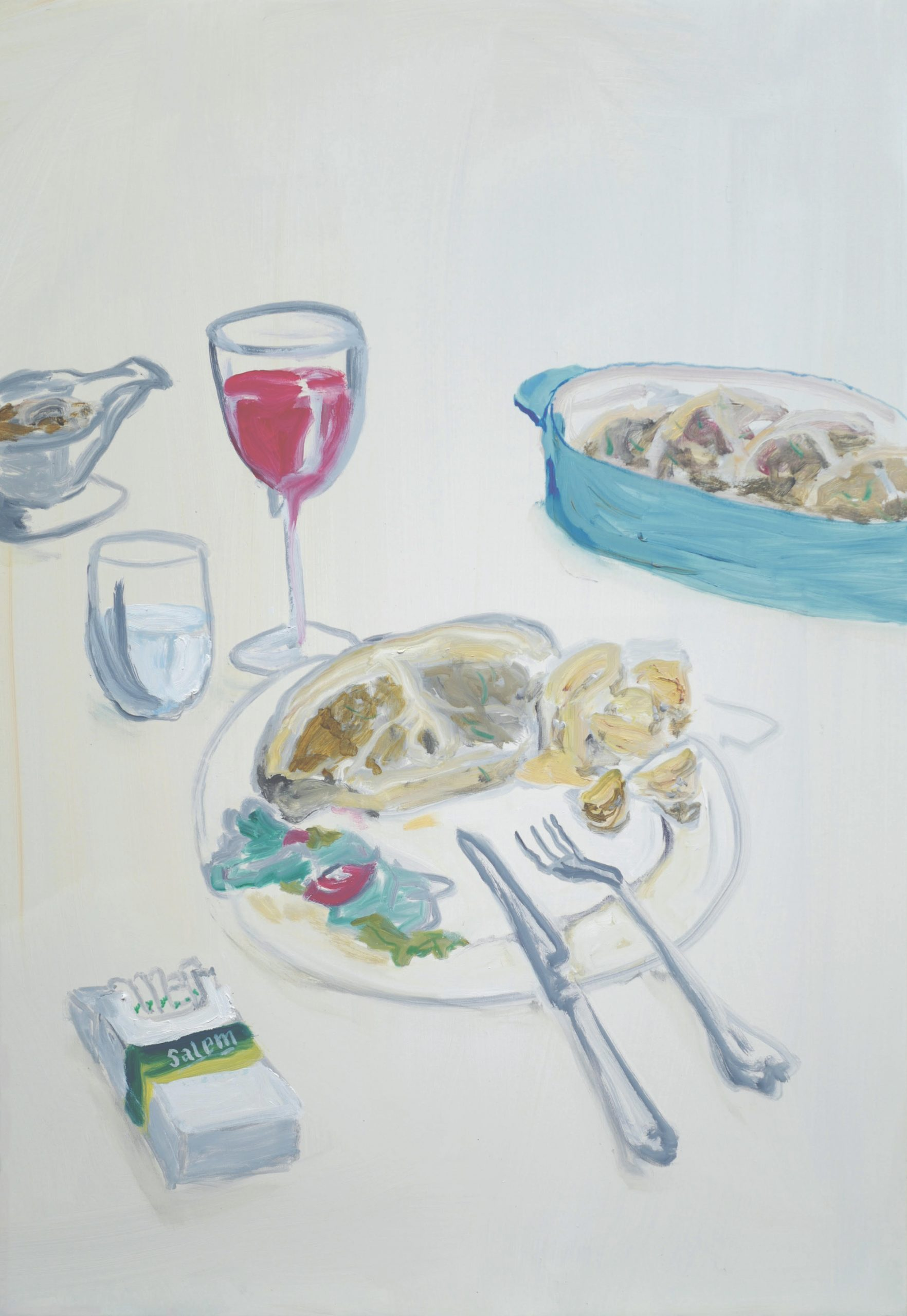 Ragnar Kjartansson, Grilled Lamb Chops with Potatoes, Mushroom Sauce and Salad. Image: A Perfect Evening, 2021. Courtesy of the artist, Luhring Augustine, New York and i8 Gallery, Reykjavik