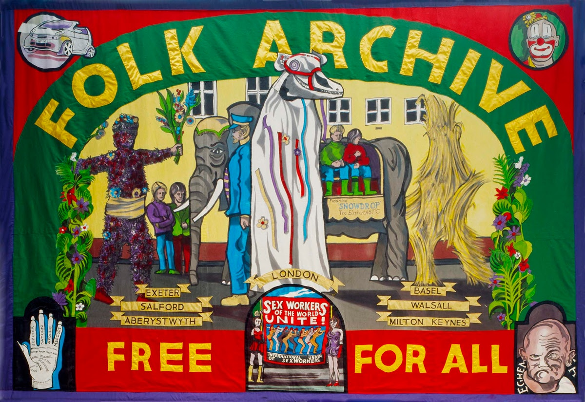 Jeremy Deller and Alan Kane, British Council Arts Folk Archive, 2005. Banner by Ed Hall